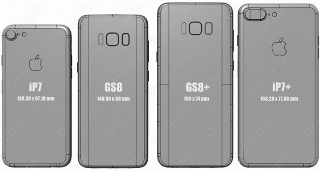 samsung galaxy s8 size comparison